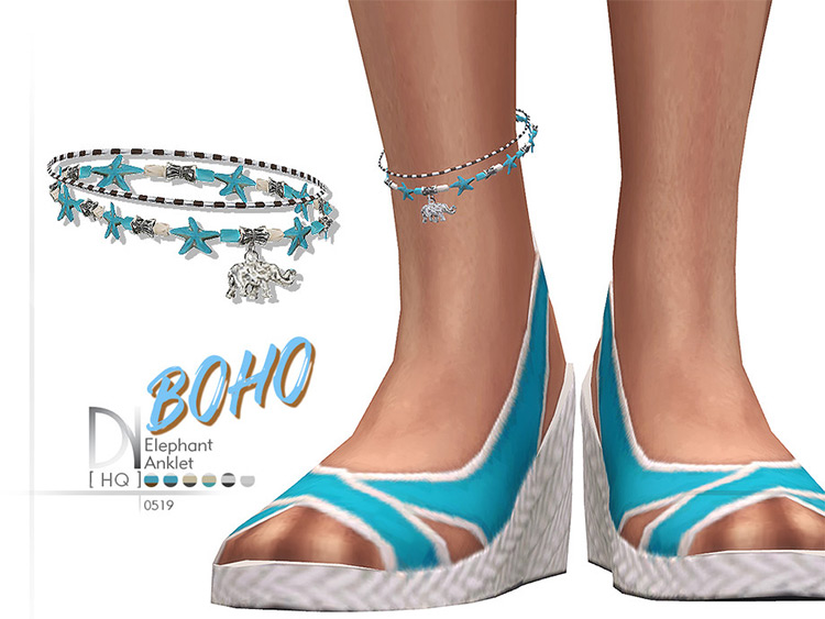 Boho Elephant Anklet CC for TheSims4