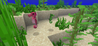 Seahorses underwater in Minecraft - Mod Screenshot