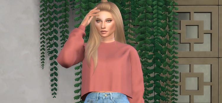 Ghostin' Pink Crop-Top Sweater - Sims 4 CC Screenshot
