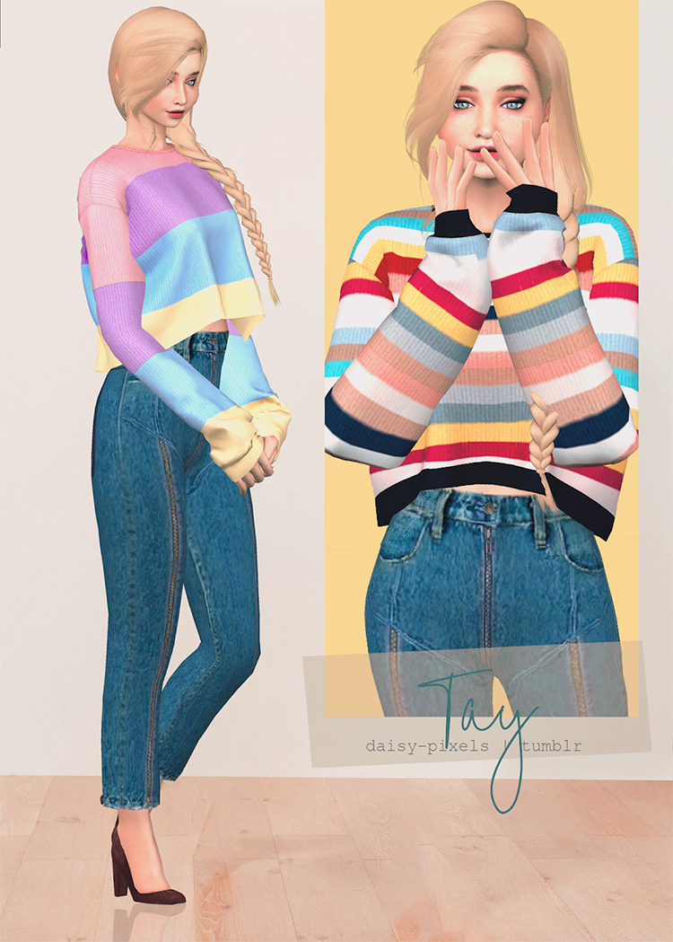 Tay Striped Sweater Sims 4 CC