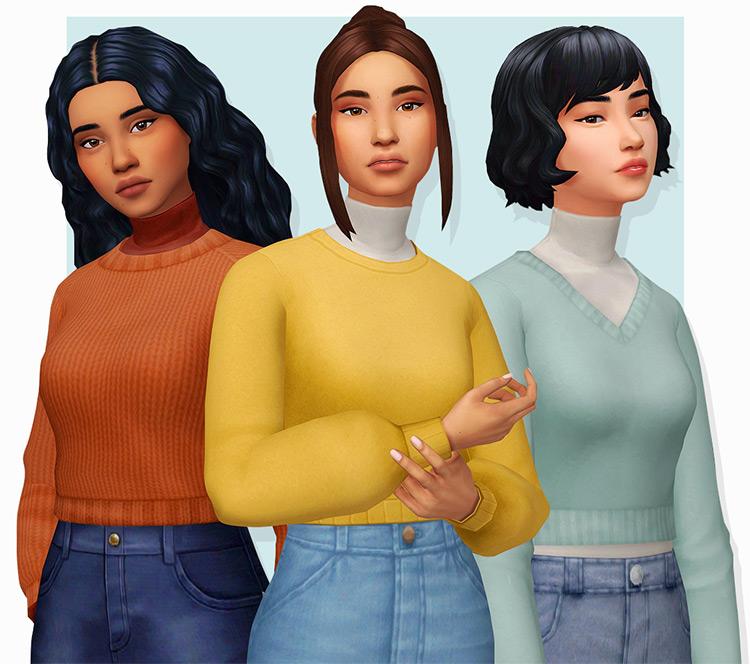 Bright Kumikyas Colorful Sweaters, Blue, Yellow & Orange - Sims 4 CC