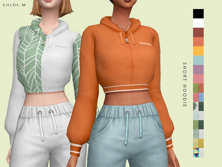 Short Hoodie Midriff belly showing - Sims 4 CC