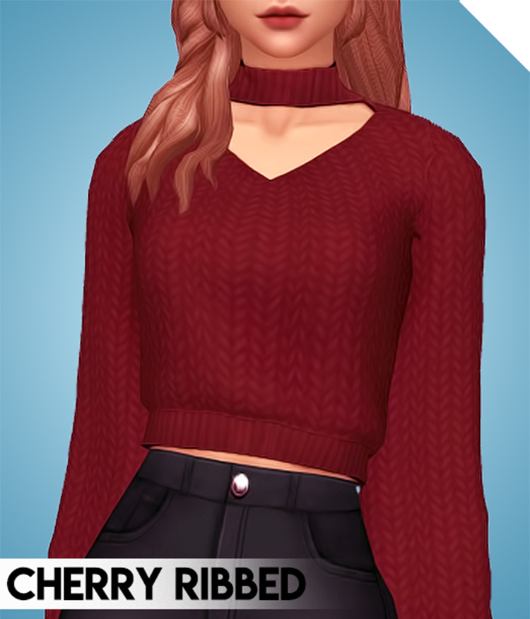 Bright Cherry sweaters with choker-style design - TS4 CC