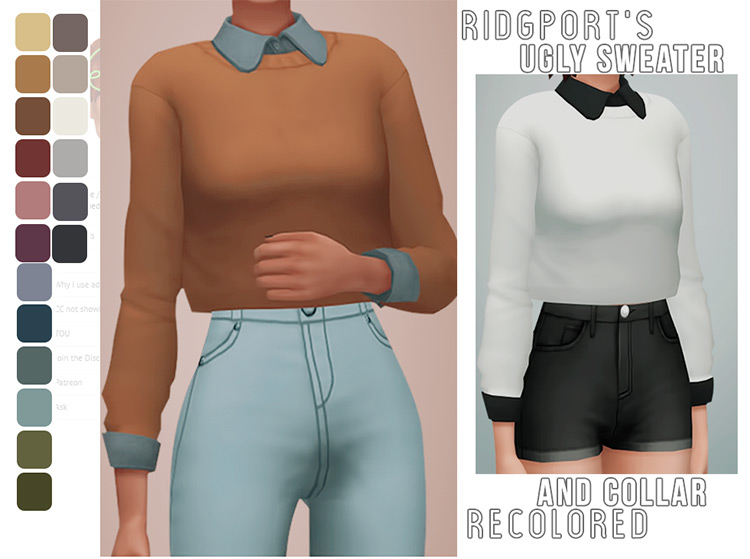 Classy formal office-styled sweaters - Sims 4 CC