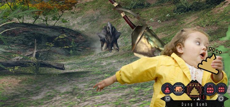 Yellow shirt girl running - Bulldrome MHW meme