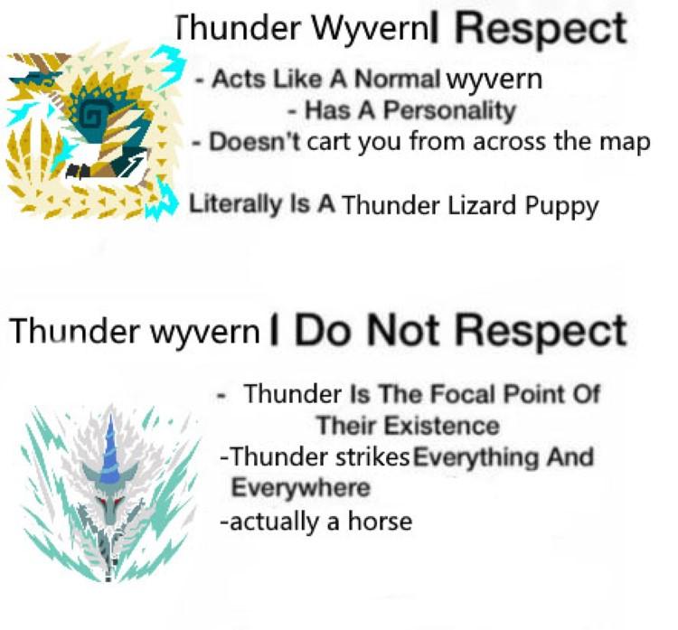 Thunder wyvern I do not respect meme