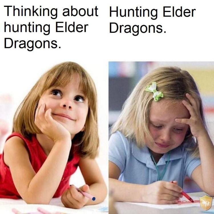 Thinking vs doing meme, Hunting Elder Dragons