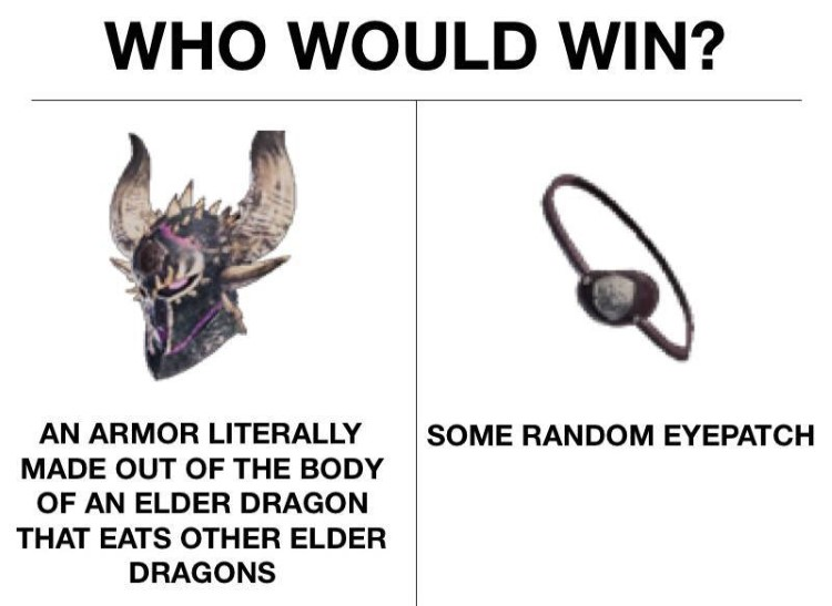 Who would win? Armor made out of dragon vs random eyepatch