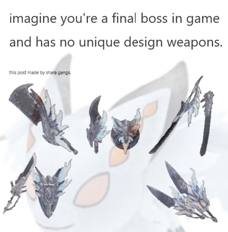 Imagine final boss in-game has no unique design weapons