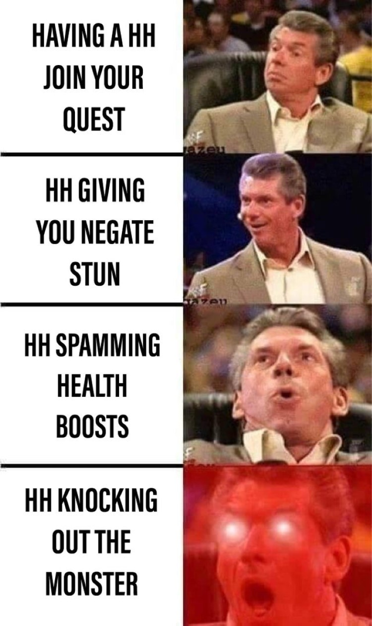 HH knocking out the monster Vince McMahon MHW meme