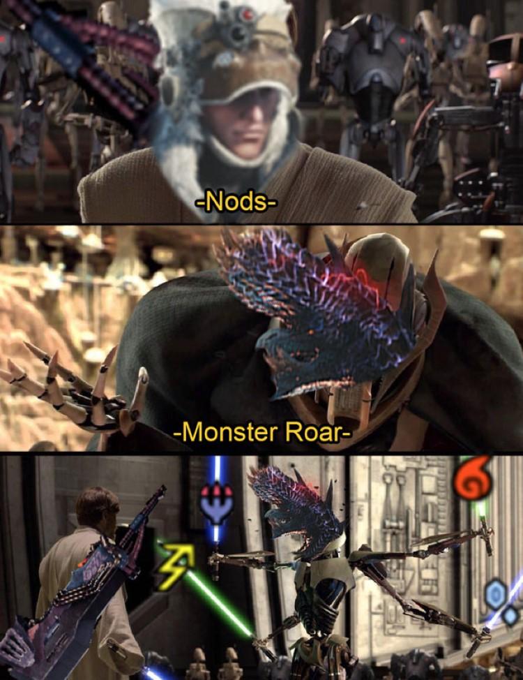 Nods, Monster Roar, MHW meme