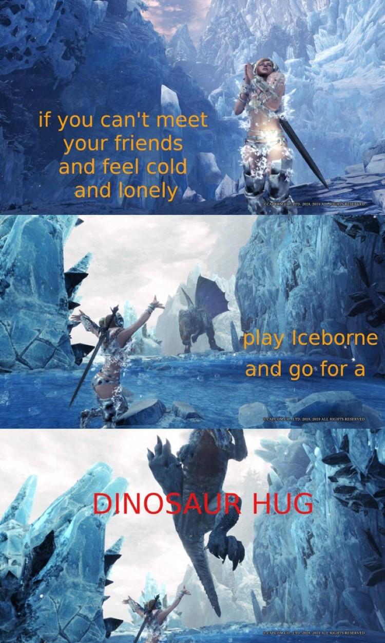 If you cant meet friends Dinosaur hug meme