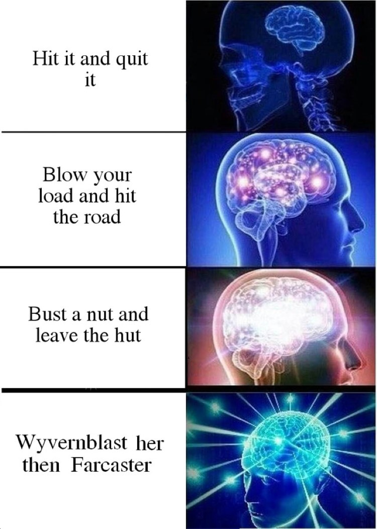 Hit it and quit it vs. Wyvernbast her and Farcaster meme
