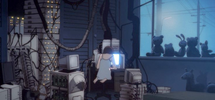 Lain Iwakura Computers Room - Serial Experiments Lain Screenshot