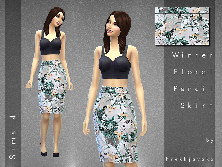 Floral Winter Pattern Skirt - Sims 4 CC