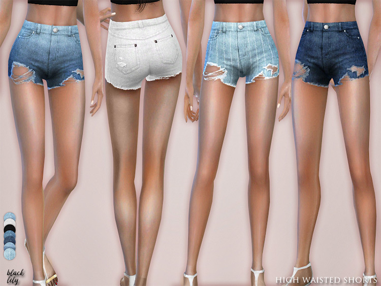 High Waisted Denim Shorts - Girls CC Sims 4