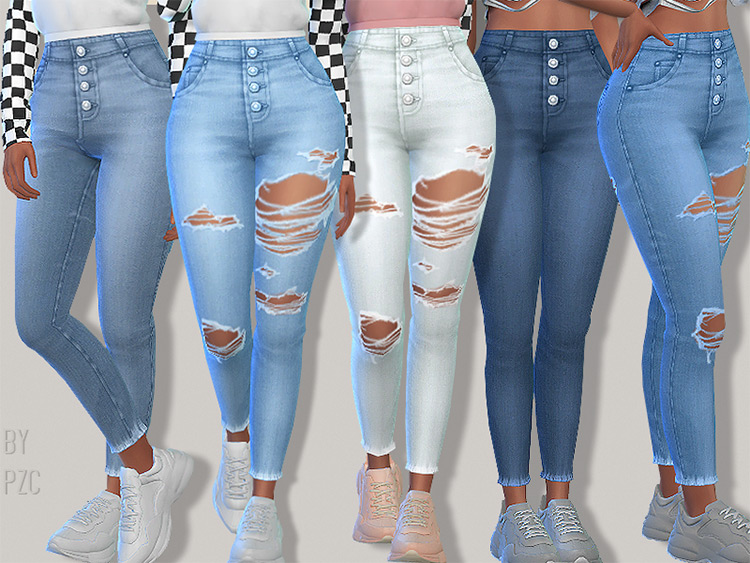 Exposed Button Denim Jeans TS4 CC