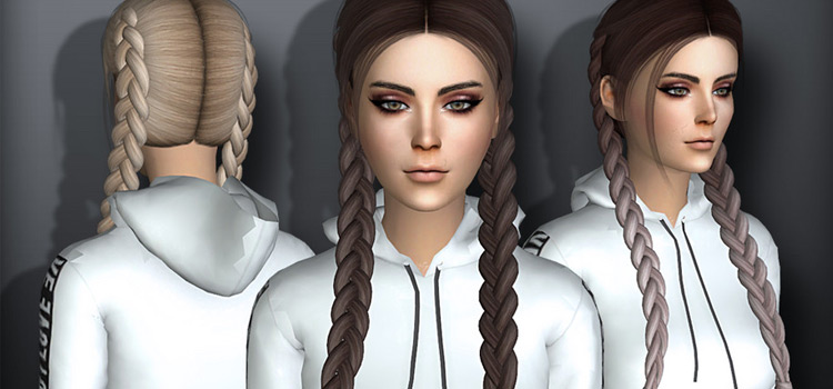 Long braided pigtails hair - Sims 4 CC