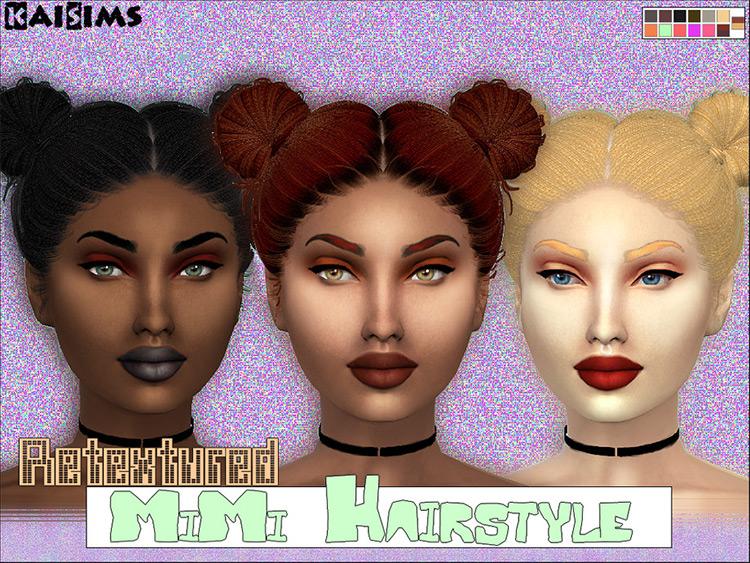 Pigtail Buns Hairdo - Sims 4 CC