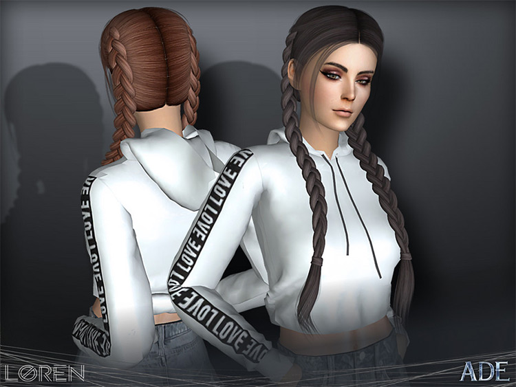 Long braided pigtails hair Sims4 CC