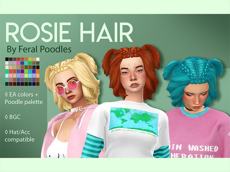 Top braided and short pigtails - Sims 4 hair CC