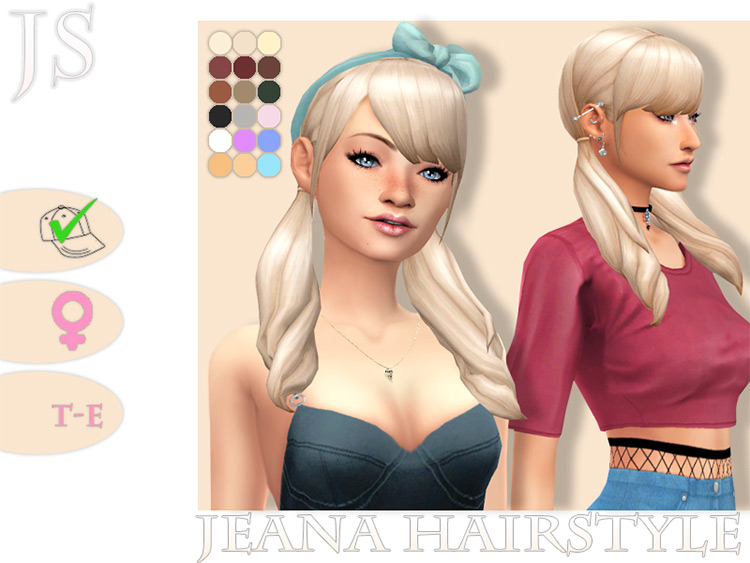Shoulder length pigtails CC TS4