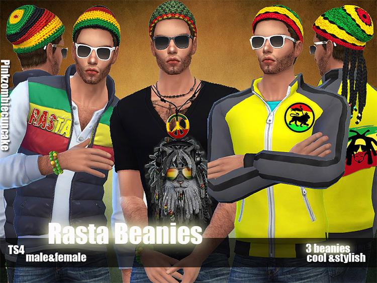 Rasta Beanie Styles - CC for Sims 4