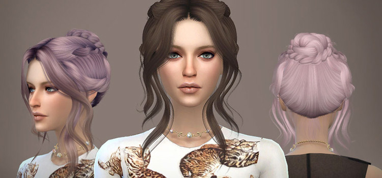 Updo Bun Hairstyle Purple & Brunette, by WINGS Modder - Sims 4 CC