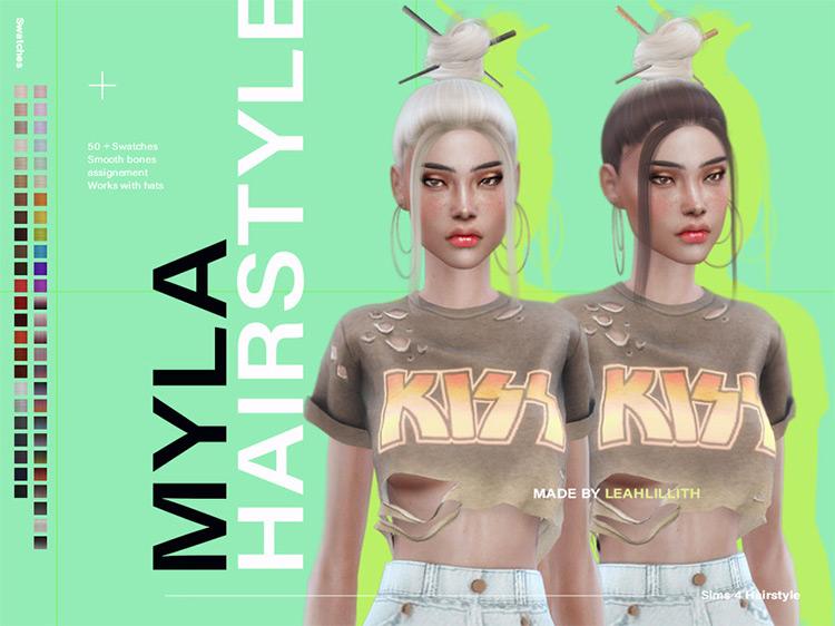 Myla Hair Chopsticks Updo for The Sims 4 CC