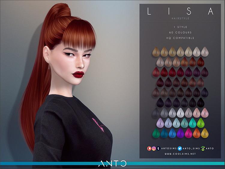 Lisa Blackpink Kpop Ponytail - Sims 4 Hair CC