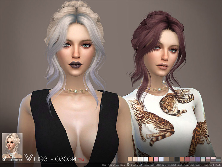 WINGS creator, female Updo CC for Sims 4
