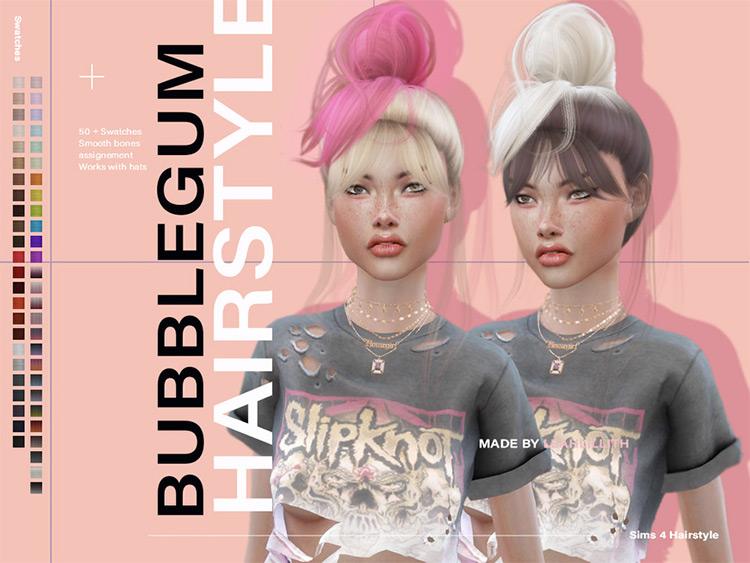 Bubblegum Updo Hair for Girls - Sims 4 CC