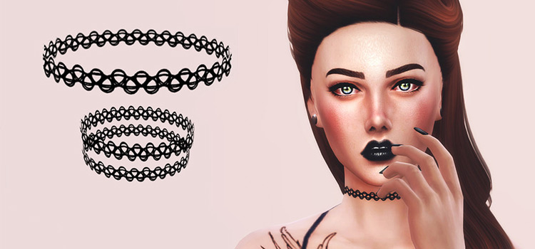 Sims4 90s-style tattoo choker CC
