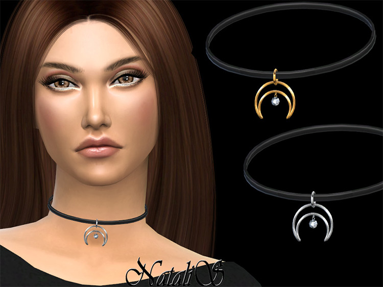 Crescent Moon Diamond Choker - Sims 4 CC