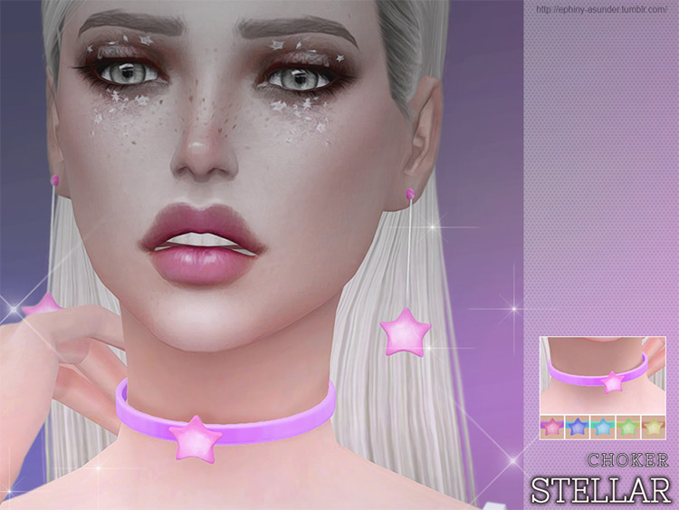 Pink Stellar Star Necklace/Choker - Sims 4 CC