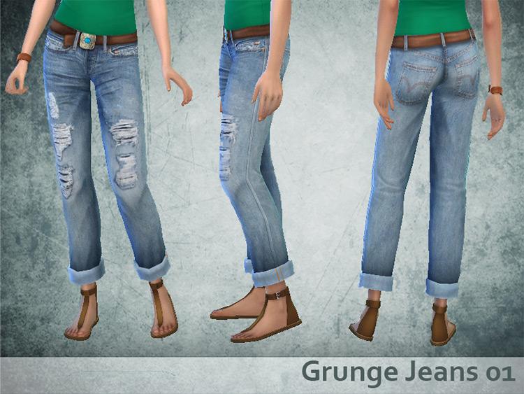 Grunge Jeans Set - Sims 4 CC