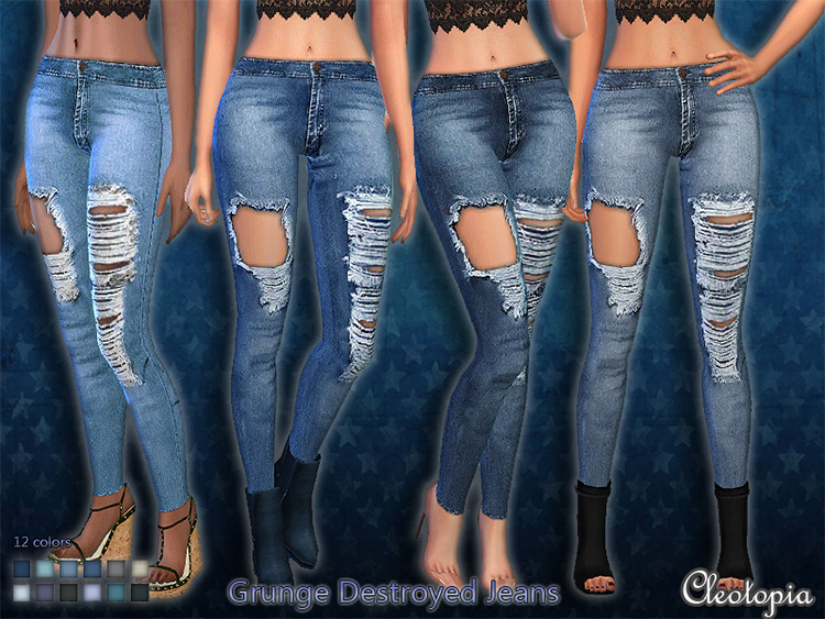 Grunge Destroyed Jeans - Sims 4 CC