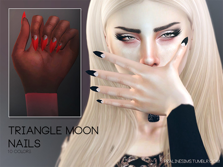 Triangle Moon Nails - Sims 4 CC