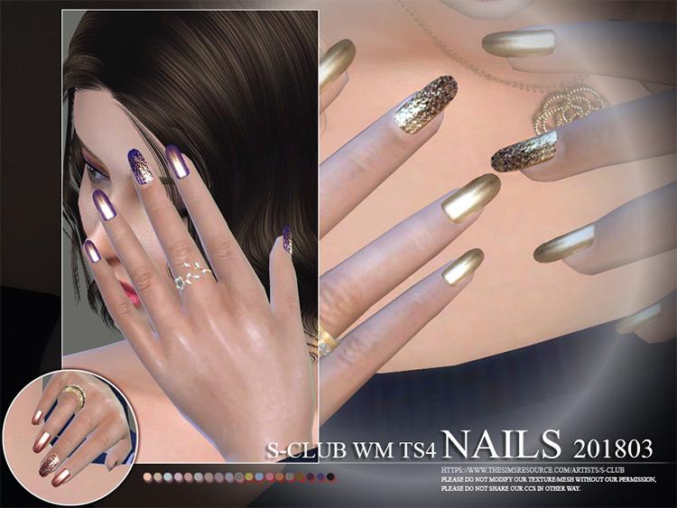 WM Nails Glitter/Metallic Style - Sims 4 CC