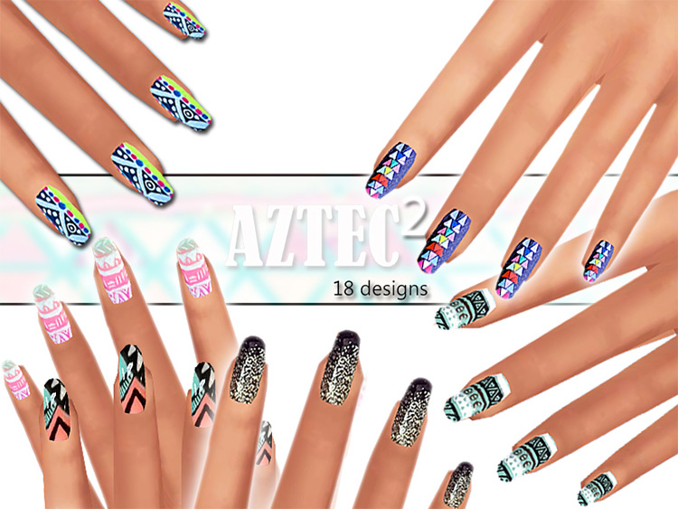 Aztec Nails Pack for The Sims 4