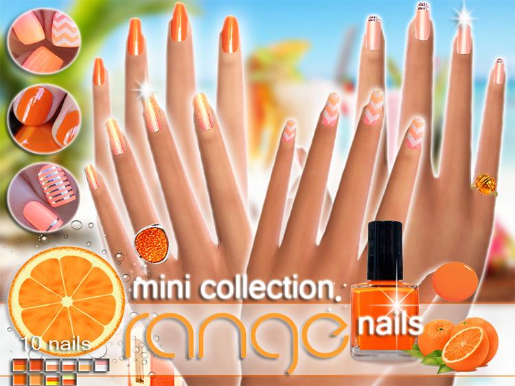 Orange Nails Sims 4 CC