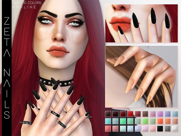 Zeta Nails styled for Sims 4