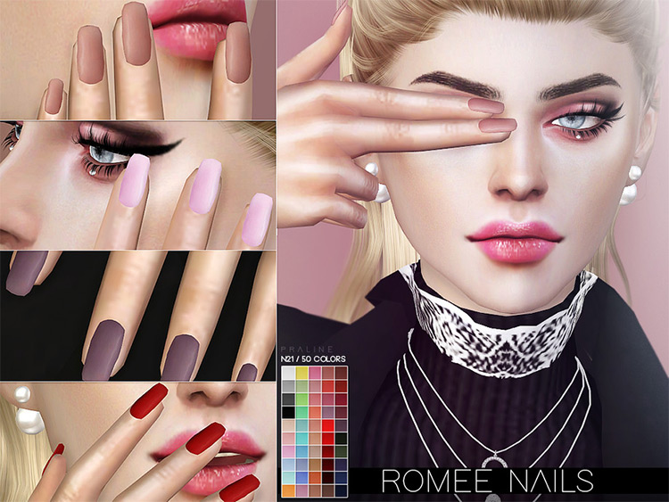 Romee Nails - Custom matte nails for Sims 4