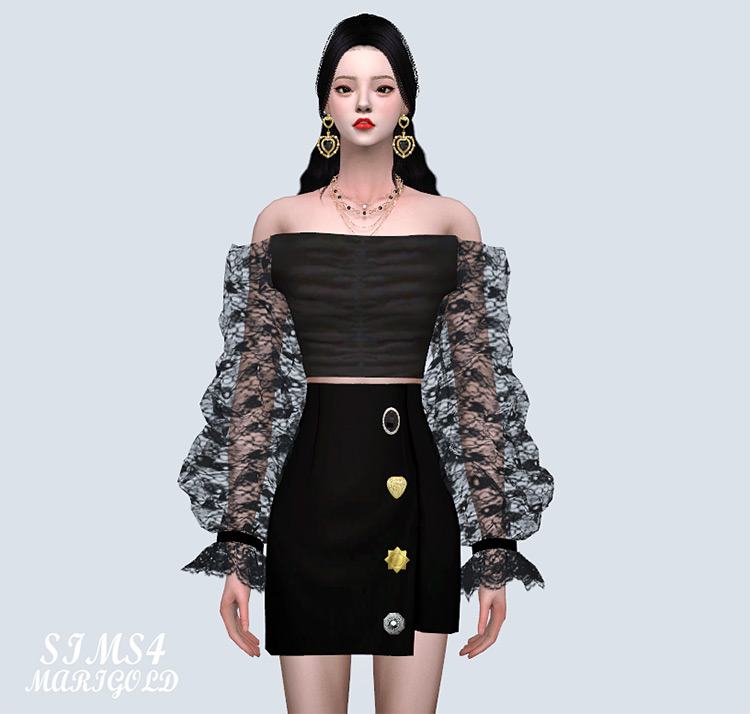 Arm-Mesh Off Shoulder Crop Top - Sims 4 CC