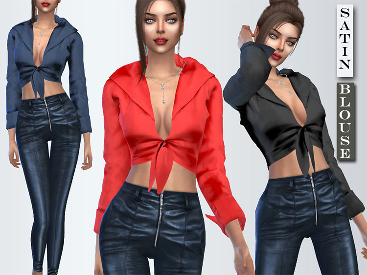 Long Sleeve Silk Blouse - CC for TS4