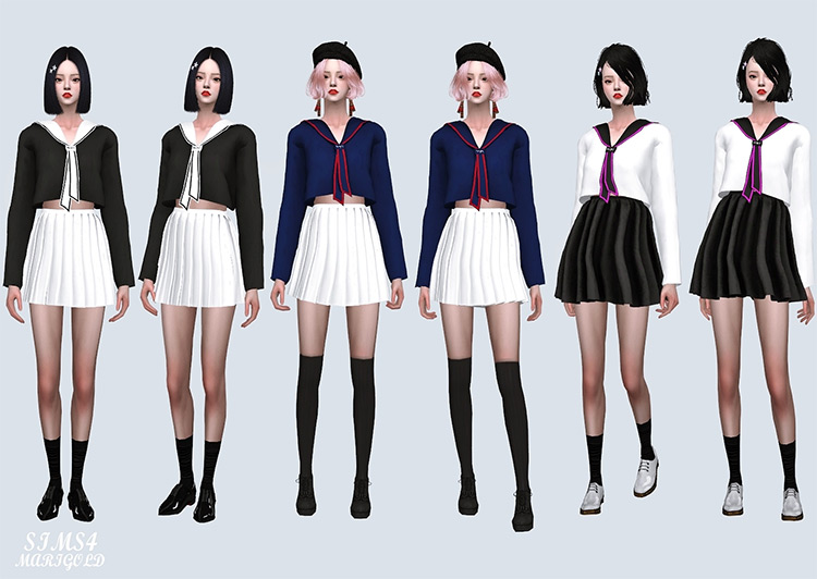 Sailor Neck Tie Crop Top - Sims 4 CC