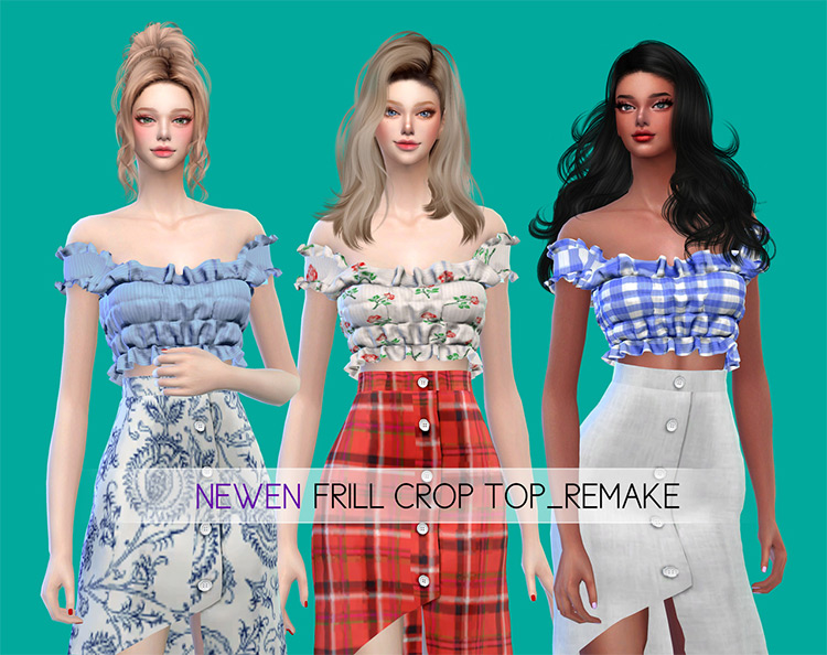 Frill Crop Top Remake - Sims 4 CC