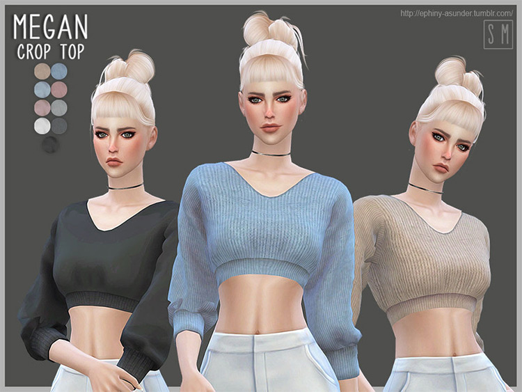 Megan Sweater Crop Top - Sims 4 CC