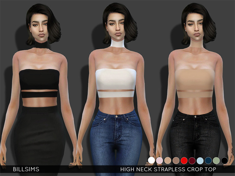 High Neck Strapless Crop for Women - Sims 4 CC