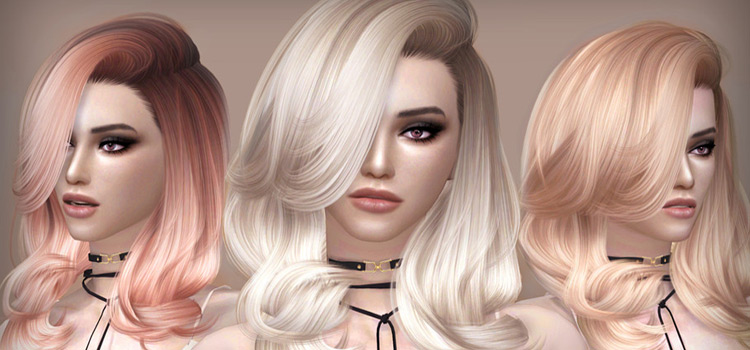 Wavy and erratic mid-length hair - blonde, orange, pink, Sims 4 hair CC